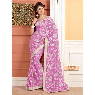 Sonal Multicolor Chiffon Self Design Saree With Blouse