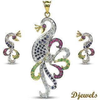 Djewels Ruby Emerald Sapphire Diamond Peacock Design Pendant Set