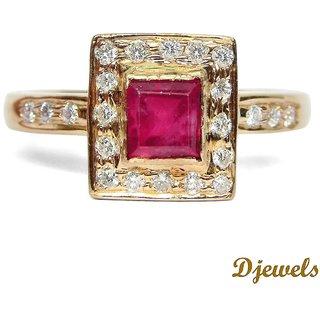 Djewels Ruby Diamond Pink Gold Ring