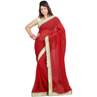 Lookslady Gold & Red Chiffon Plain Saree With Blouse