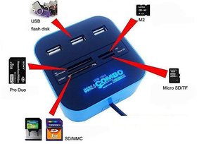 All In One USB 2.0 With 3 Port Ports Hub Memory Card Re