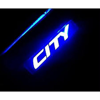 Car Door Sill Scuff Plates Foot Step Blue Led for Honda City