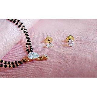 Buy 22k Gold Single Diamond Mangalsutra Pendant With Earrings Online