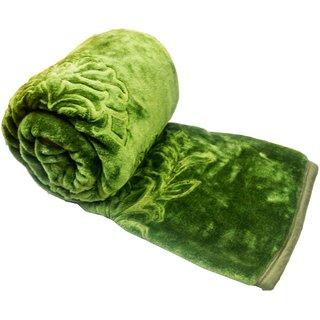 JK Handloom Embossed Korean Mink Blanket(aroembgreensb)