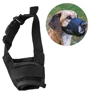 Futaba Dog Adjustable Anti Bark Mesh Soft Mouth Muzzle - Black - Small