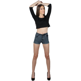 SayItLoud 3/4 Sleeve Black Colour Solid Crop top