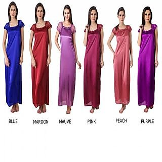 577628c97c4c Buy Hot and sexy women pack of 6 PC satin nighty gown