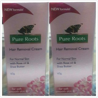 Pure Roots Hair Removal cream with Rose Oil and Shea Butter - Pack of 2 (120g)