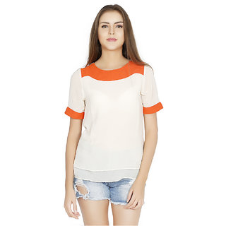 W.A.Y We Are Young Casual Cream Solid Top For Women5589CreamS