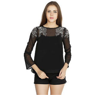 W.A.Y We Are Young Casual Black Embellished Top For Women5854BlackS