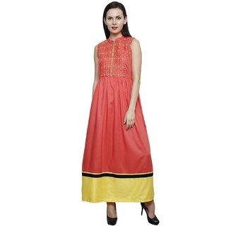 Paislei Casual Sleeveless Rayon Embroidered Dress
