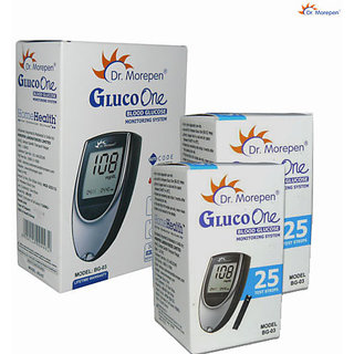 Dr Morepen Glucometer with 50 strips( 2 Packs of 25 Strips )