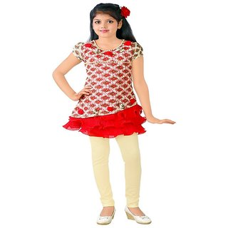 KC Dolphin Red Net Frock And Legging Set For Girls