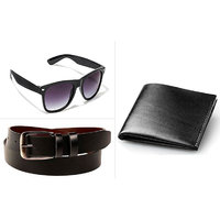 Combo of Black Wallet , Glass , And Black Belt For Men