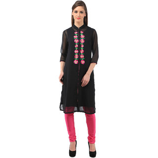 Vedika black georgette with embroidry with coller kurti