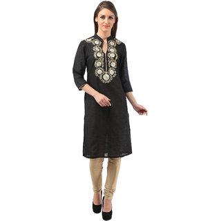 vedika black cotton-silk kurti