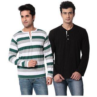 Leana Black Chines  Green Stripe Men Tshirt Pack Of 2