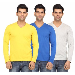 Leana Yellow  R Blue  Grey V Neck Men Pack Of 3