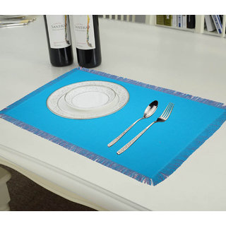 Lushomes Reversible Fringe Placemats, Ocean Blue and Dark Pink (Pack of 6)
