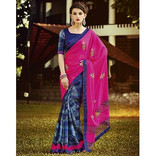 Kvsfab Blue & Pink Georgette Embroidered Saree With Blouse