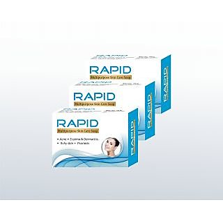 Biotrex Rapid Multipurpose Skin Nourishing Bath and Beauty Care Soap - Pack of 3