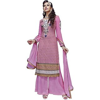 ec942b0ee829 Buy Ambica Georgette Embroidered Semi-stitched Salwar Suit Dupatta Material  Online - Get 42% Off
