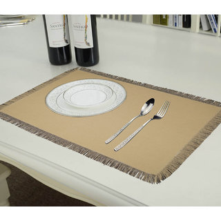 Lushomes Reversible Fringe Placemats, Cream and Black (Pack of 6)