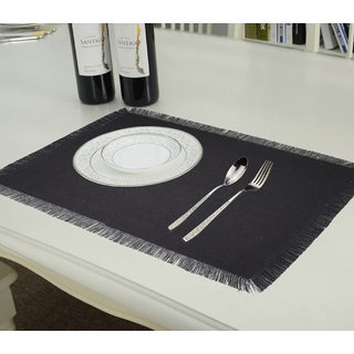 Lushomes Reversible Fringe Placemats, Grey and Black (Pack of 6)