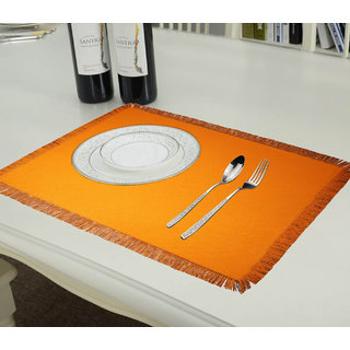 Lushomes Reversible Fringe Placemats, Orange and Brown (Pack of 6)
