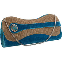 Sukkhi Designer Blue And Gold Clutch Handbag