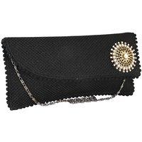 Sukkhi Elegant Black And Gold Clutch Handbag
