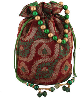 Sukkhi Traditional Red, Green and Gold Potli Bag