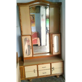 buy maharaja dressing table cofee brown colour by wooden crafts