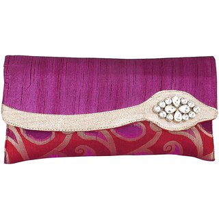 Sukkhi Opulent Purple Clutch Handbag