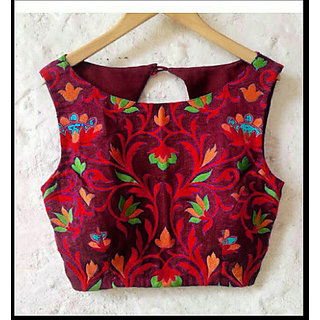 Fabboom New Latest Maroon Embroidred Designer Unstitched Blouse