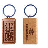 Personalized Custom Laser Engraved Rectangular Wooden Key Ring