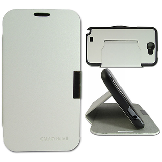 Callmate Flip Case With Stand For Note 2, N7100 With Free Screen Guard- White