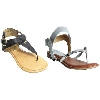 Eve Black Sliver Beautiful Color Combo Of 2 Sandal For Women