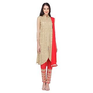 Varanga Beige Georgette Embroidered Salwar Suit Dress Material (Unstitched)
