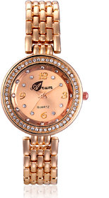 Arum Golden Diva Brick Stylish  Fashion Watch For Women
