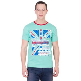 Cliths Mens Green Cotton Printed T-Shirt HS-156-Green