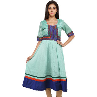 Krishna Fashions Turquoise Sequined Regular Fit Semi-Anarkali Style Knee-Long Cotton Kurti