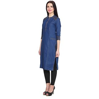 Denim Blue Kurti With 3/4 Sleeves And Two Pockets Buy ...