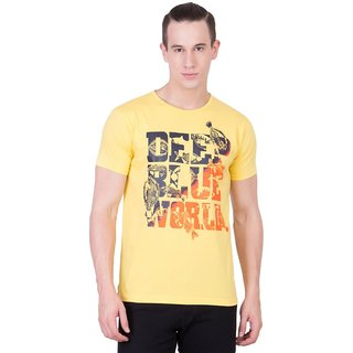 Cliths Mens Yellow Cotton Printed T-Shirt HS-157-Yellow