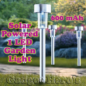 Gadget HerosTM Solar Powered Rechargeable LED Lawn Garden Light Lamp Waterproof 600 mAh rechargeable battery. Silver.