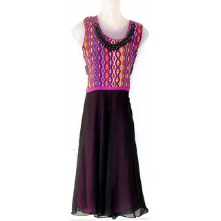 Jac Chiffon Black  Purple Colour Anarkali Kurti