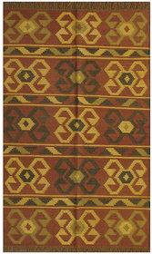 Rugsville Dhurrie Southwestern Multi Wool Handmade 13642 5x8 Rug