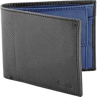 Men Blue, Black Genuine Leather Wallet(3 Card Slots)