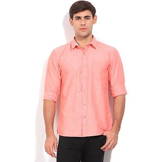 Mens Solid Casual Pink Shirt