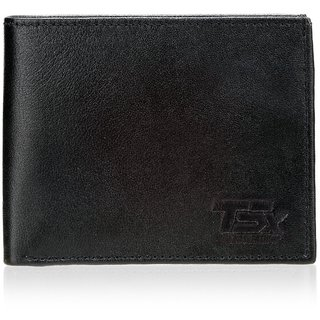 TSX Mens Black Pure Leather Wallet (Synthetic leather/Rexine)